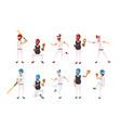set professional baseball players teamwork vector image