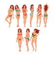 smiling girl in different swimsuits set beautiful vector image vector image