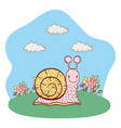 snail outdoors scenery cartoon vector image