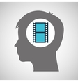 strip film silhouette head think movie vector image vector image