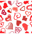 stylized sketch hearts eamless pattern vector image