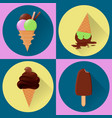 tasty ice cream flat icons set vector image