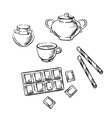 Tea cup confectionery and honey sketches vector image vector image