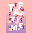 tea time concept with tiny men and women drink tea vector image