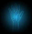 technology cyber security hand circuit vector image