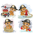 teddy bear firefighter with rescue equipment vector image