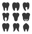 teeth type icons set on white background vector image vector image