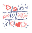tic tac toe valentines day love background vector image
