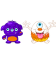 Two cute monsters vector image vector image