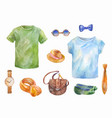 watercolor set of clothes hand drawn sketches vector image vector image