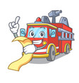 with menu fire truck mascot cartoon vector image vector image