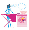 woman irons clothes silhouette vector image