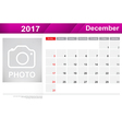 Year 2017 December month simple and clear design vector image vector image