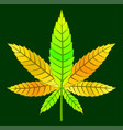 yellow cannabis leaf vector image vector image