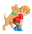 young man and loved his dog vector image vector image