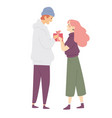 young man giving a woman present box girl vector image vector image