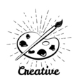 Creative motivation poster Palette with paints and vector image