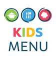 creative kids menu design template vector image