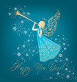 golden angel with ornamental wings and trumpet vector image