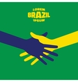 Hand shake icon using Brazil flag colors vector image