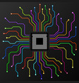 abstract colorful cpu microprocessor microchip vector image vector image