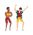 african caucasian men dancing at beach vector image vector image