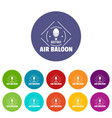 air balloon icons set color vector image