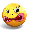 Angry face on yellow badge vector image vector image