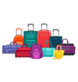 background with travel suitcases and bags vector image vector image
