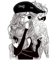 beautiful woman pirate with a parrot vector image