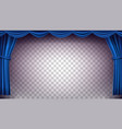 blue theater curtain transparent vector image vector image