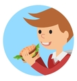 Boy eating sandwich on theme vector image vector image