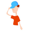 boy with blue hat on white background