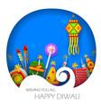 burning diya and firecracker on happy diwali vector image vector image