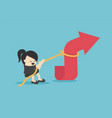 businesswomen is using a rope to pull arrow vector image vector image