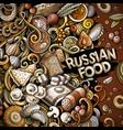 cartoon doodles russian food frame vector image