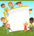 cartoon frame with musician childrens and empty vector image vector image