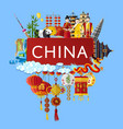 china travel banner with famous asian symbols vector image