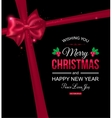 Christmas typographical background with red bow vector image vector image