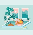 couple spend summer vacation at swimming pool vector image