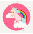 Cute happy unicorn and rainbow clouds tshirt vector image vector image