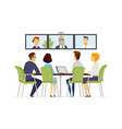 distance meeting - modern business cartoon vector image vector image