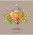 dog rose tea in teapot vector image vector image