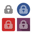 dotted icon locked padlock in four variants vector image