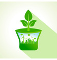Ecology concept with pot stock vector image vector image