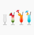 empty and full cocktail glasses vector image vector image
