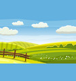 felds and hills rural landscape cartoon vector image