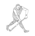 field hockey player doodle vector image vector image