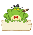 Frog Smoking A Cigar On A Wood Sigh vector image vector image