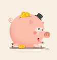 full piggy bank with coins vector image vector image